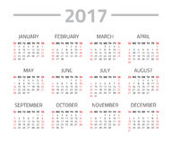 Calendar 2017 year. On a white background. Week starts sunday. Vector design template Stock Images