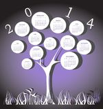 Calendar for 2014 year. With white circles Royalty Free Stock Images