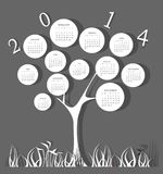 Calendar for 2014 year. With white circles Stock Images