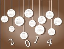 Calendar for 2014 year. With white circles Royalty Free Stock Photo