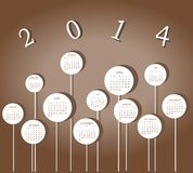 Calendar for 2014 year. With white circles Royalty Free Stock Photography