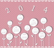 Calendar for 2014 year. With white flowers Vector Illustration