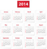 2014 calendar. Calendar for 2014 year on white papers in English. Vector illustration stock illustration