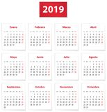 2019 Spanish calendar in red royalty free illustration