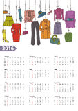 Calendar 2016 year.Woman fashion set.Colored. Fashion illustration.Calendar 2016 new year.Vector hand drawn fashionable women clothes and accessories hanging on vector illustration