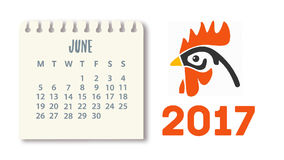 Calendar for the year 2017. Year of the rooster.