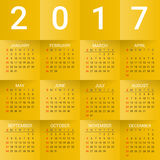 Calendar for 2017 Year on Yellow Background. Week starts from sunday. Modern Creative Vector Design Print Template. Holiday vector illustration. Paper layers Royalty Free Illustration