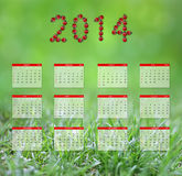 Calendar 2014. Yearly calendar 2014 in green stock illustration