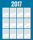 Calendar for 2017. Yearly Wall Calendar Planner Template for 2017 Year. Vector Design Print Template. Week Starts Sunday Stock Image