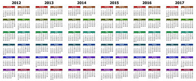 Calendar for years 2012 - 2017. Colorful calendar for years 2012 - 2017 Royalty Free Stock Photo
