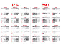 Calendar 2014 - 2015 Royalty Free Stock Photo