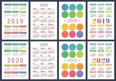 Calendar 2019, 2020 years. Basic vector set. Week starts on Sund stock illustration
