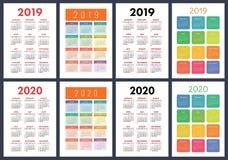 Calendar 2019, 2020 years. Basic vector set. Week starts on Sund royalty free illustration