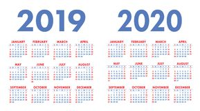 Calendar 2019, 2020 years. Calender set. Week starts on Sunday. Basic grid Stock Photo