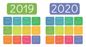 Calendar 2019, 2020 years. Colorful calender set. Week starts on. Sunday. Basic grid vector illustration