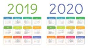 Calendar 2019, 2020 years. Colorful calender set. Week starts. On Sunday. Basic grid vector illustration