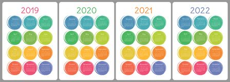 Calendar 2019, 2020, 2021, 2022 years. Colorful vector set. Week. Calendar 2019, 2020, 2021 and 2022 years. Colorful vector set. Week starts on Sunday. Vertical vector illustration