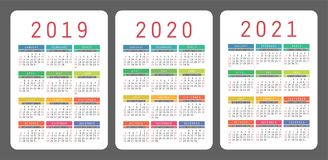 Calendar 2019, 2020, 2021 years. Colorful vector set. Week start. S on Sunday. Vertical calender design template Stock Photography