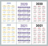 Calendar 2020, 2021 years. Colorful vector set. Week starts on Sunday. Vertical English calender design template. Calendar 2020 and 2021 years. Colorful vector stock illustration