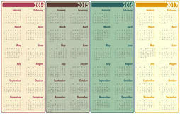 2014-2017 Calendar. 4 Years Calendar in different colours Stock Photos