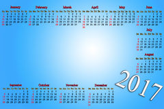 Calendar for 2016 and 2017 years Stock Images