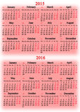 Calendar for 2015 and 2016 years on the pink Royalty Free Stock Photo