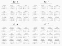 Calendar for years 2014-2017 Stock Images