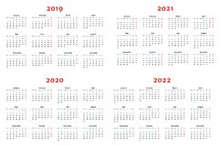 Calendar for 2019-2022 Years on Transparent Background stock illustration
