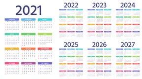 Calendar 2021 2022 2023 2024 2025 2026 2027 years. Vector illustration. Simple template