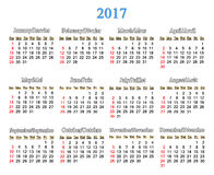 Calendar for 2017 years on the white Royalty Free Stock Photos