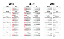 Calendar for 2016, 2017, 2018 years on white background vector.  Stock Photography