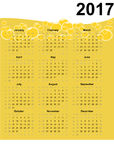 2017 calendar and yellow bubbles. Design of yellow 2017 calendar with bubbles. All months of year are displayed Stock Photo
