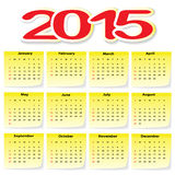 Calendar 2015. In yellow Stickers. Illustration Stock Illustration