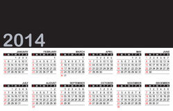 Calendar 2014. 2014 calendar - you can change the size, color, and add your favorite item or logo on the black area royalty free illustration