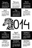 Calendar 2014 with zebra. And comic handmade font Royalty Free Illustration