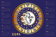 Calendar 2016.Zodiac sign in Horoscope circle. 2016 new year Calendar.Horoscope Circle with Zodiac sign.Constellation,stars ,astrology symbols,white faces of Royalty Free Stock Photo