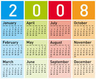 Calendar2008_DC5. Simple and Colorful Calendar for 2008 Royalty Free Stock Image