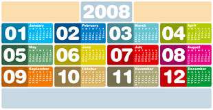 Calendar2008_eX3. Colorful Calendar for 2008. Horizontal design. With Space reserved for logo and text Royalty Free Stock Photography