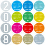 Calendar2008_FC4. Colorful Calendar for 2008, with a circles design Stock Image