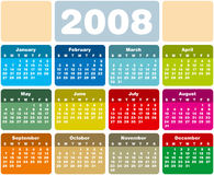 Calendar2008e1. Colorful 2008 calendar, with two spaces reserved for logo or text Royalty Free Illustration