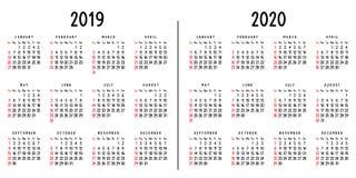 Calendari 2019 e 2020 illustrazione di stock