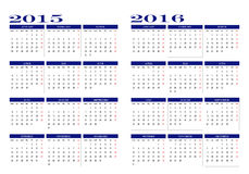 Calendari 2015 e 2016 illustrazione di stock