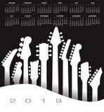 2019 calendari musicali con una chitarra illustrazione vettoriale