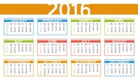 2016 calendari variopinti di anno nella lingua inglese Fotografia Stock Libera da Diritti