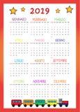 Calendario 2019 согласно с I Bambini 2019 иллюстрация штока