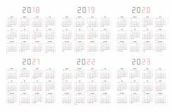Calendario 2018, 2019, 2020, 2021, 2022, 2023 illustrazione di stock
