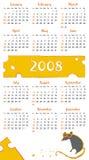 calendario 2008 de la rata del queso Imagen de archivo libre de regalías