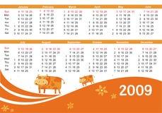 calendario 2009 con la vaca stock de ilustración