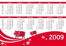 calendario 2009 con la vaca Fotografía de archivo