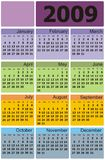 Calendario 2009 de Ñolorful del vector Fotos de archivo